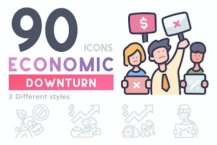 90 Economic Downturn icon set
