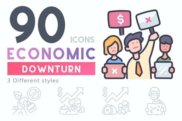 Thumbnail for 90 Economic Downturn icon set