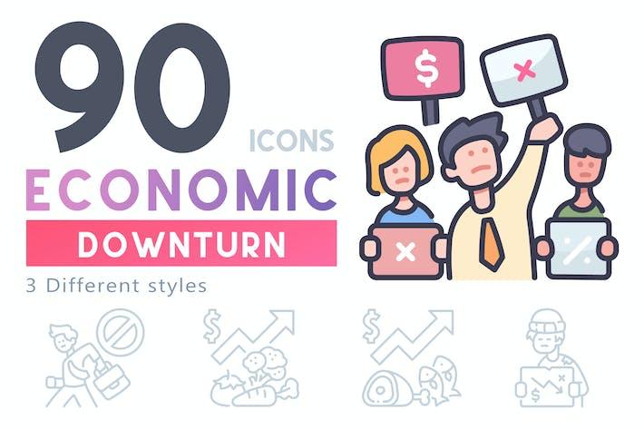 90 Экономический спад набор иконок