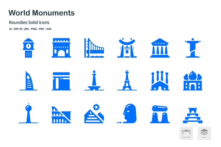 Thumbnail for World Monuments Roundies Solid Glyph Icons