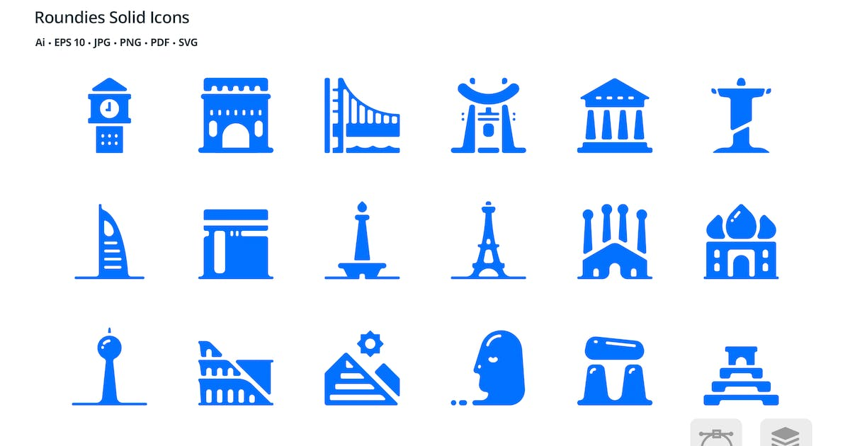 Download World Monuments Roundies Solid Glyph Icons by roundicons
