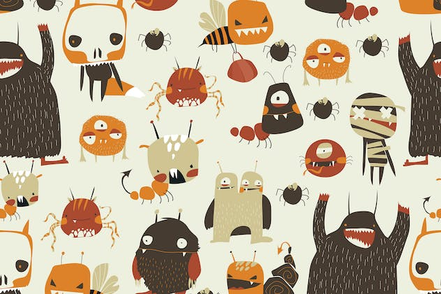 Vector seamless pattern with cute colorful monster