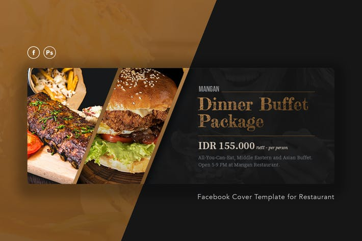 Thumbnail for Mangan - Restaurant Facebook Cover PSD Template