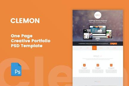 Clemon - One Page Creative Portfolio PSD Template