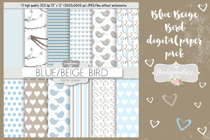 Cover Image For Blue beige bird digital paper pack