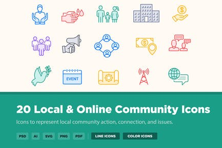 20 Local & Online Community Icons