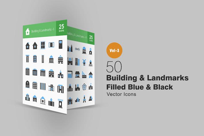 Thumbnail for 50 Buildings & Landmarks Blue & Black Icons