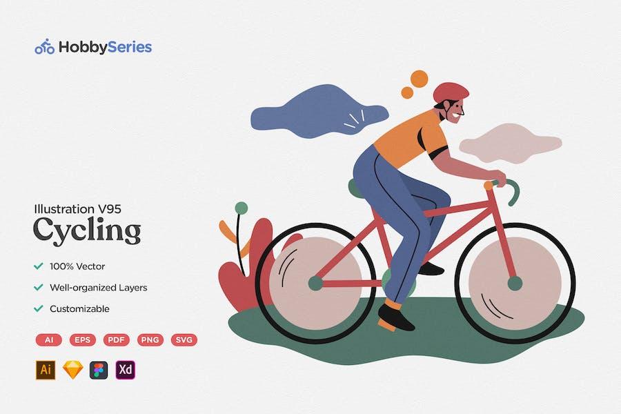 Hobby Illustration: Biking with Bicycle