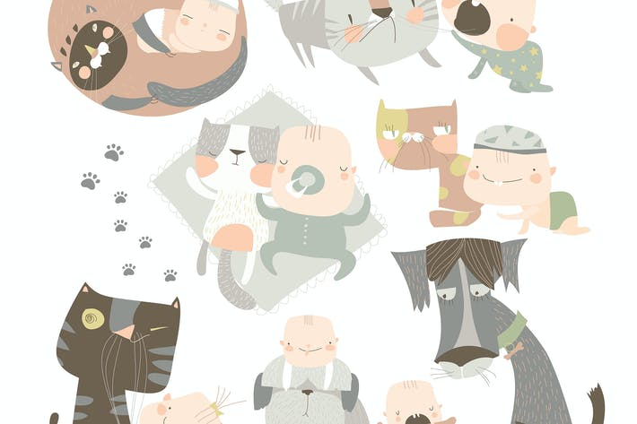 Thumbnail for Cartoon happy baby with his funny pets Vector illu