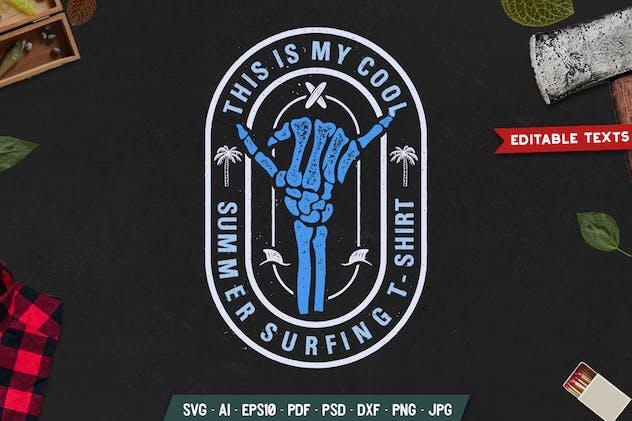 Retro Surf Badge / Vintage Summer Travel Logo SVG