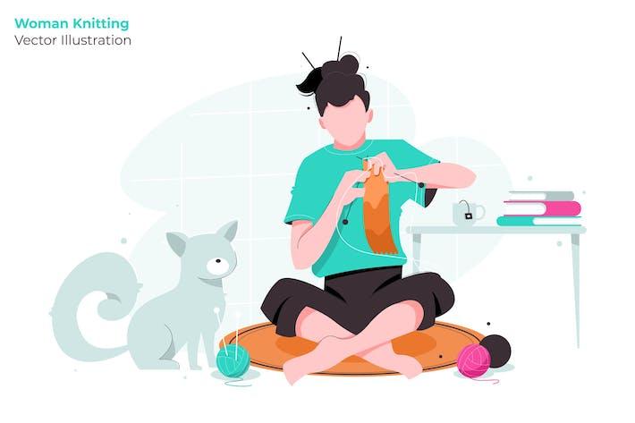 Thumbnail for Woman Knitting - Vector Illustration