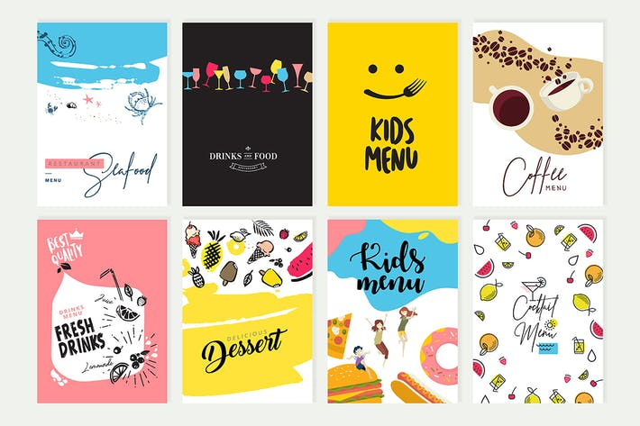 Cover Image For Set of menu and brochure design templates