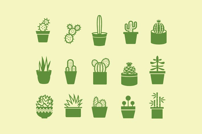 Thumbnail for 15 Cactus and Plant Icons