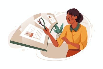 Women Choosing Between Candidates Illustration