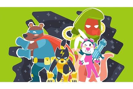 Animal Heroes Illustration
