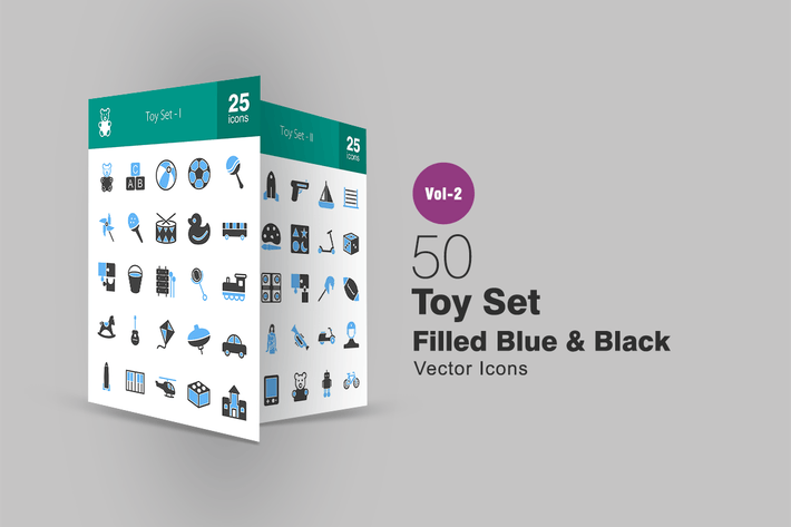 Thumbnail for 50 Toy Set Blue & Black Icons