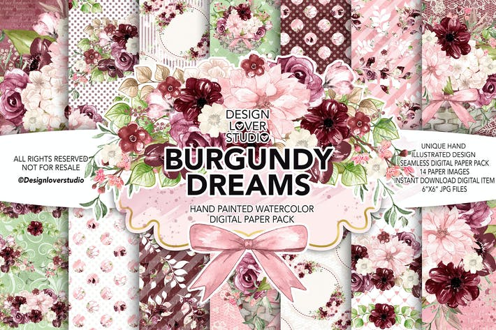 Thumbnail for Watercolor BURGUNDY DREAMS digital paper pack