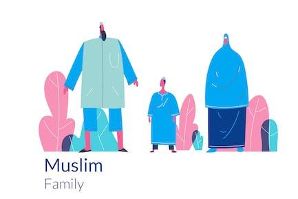 Happy musulman Modèle d'illustration de héros web de la famille