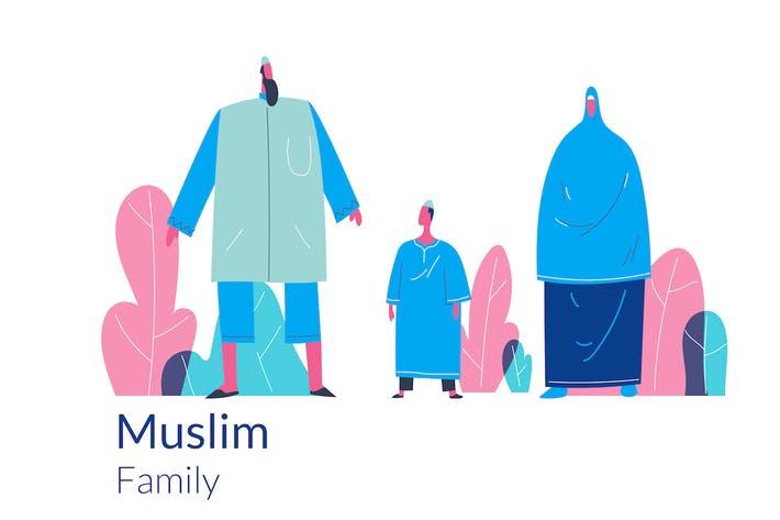 Thumbnail for Happy Muslim family web hero illustration template