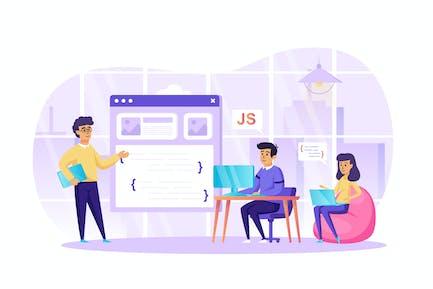 Desarrollo de software de programación en la escena de oficina