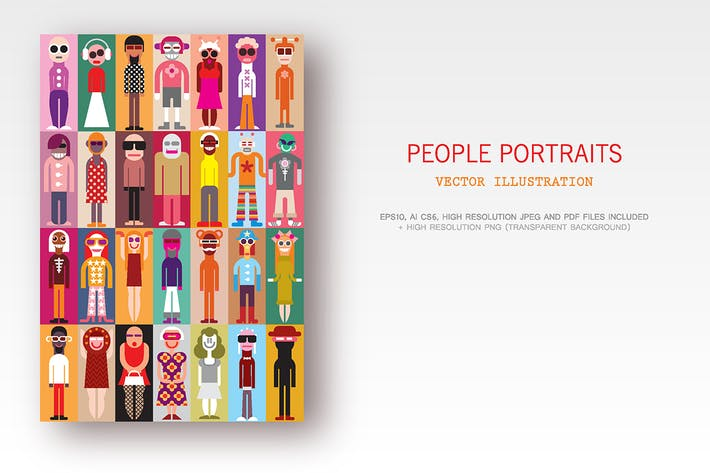 Thumbnail for People Portraits set of vector images