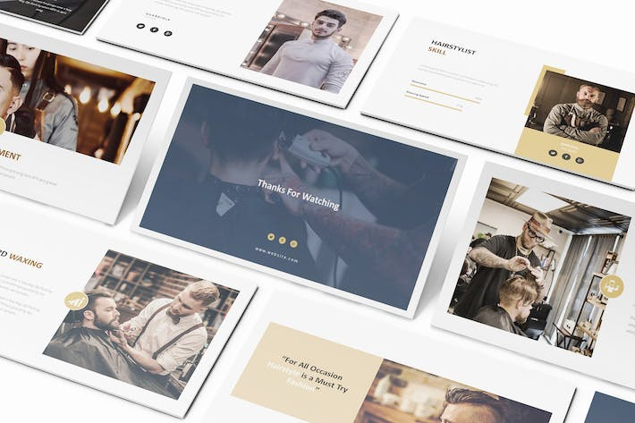 Thumbnail for Mr Barber -  Barbershop Keynote Template