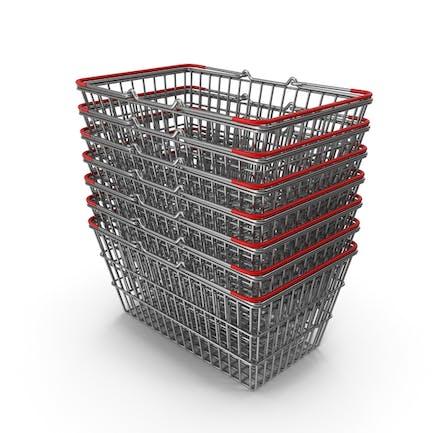 Stapel von Supermarkt-Körben mit rotem Kunststoff