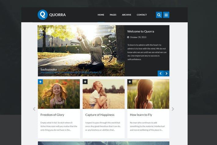 Thumbnail for QUORRA - Personal Blog Website PSD Template