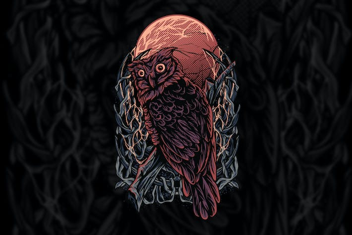 Owl Darkness Illustration
