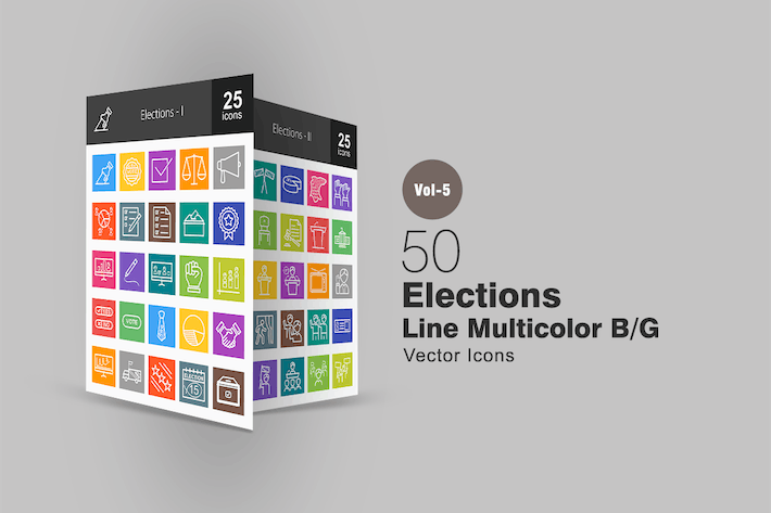 Thumbnail for 50 Elections Line Multicolor Icons
