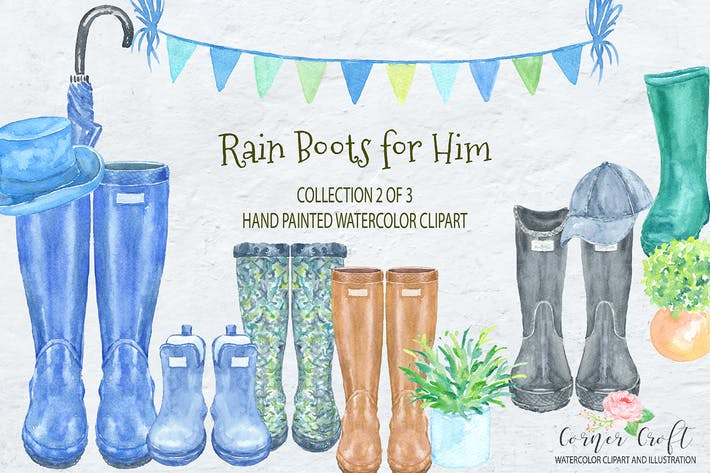 Thumbnail for Watercolor Rain Boots for Him
