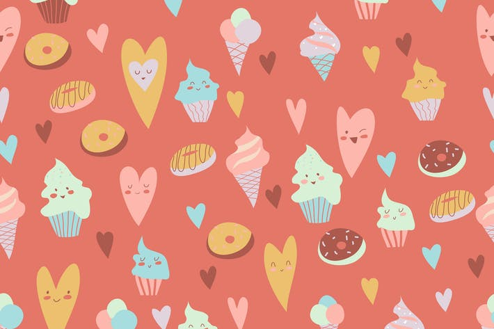 Cover Image For Beautiful seamless pattern of delicious cupcakes,