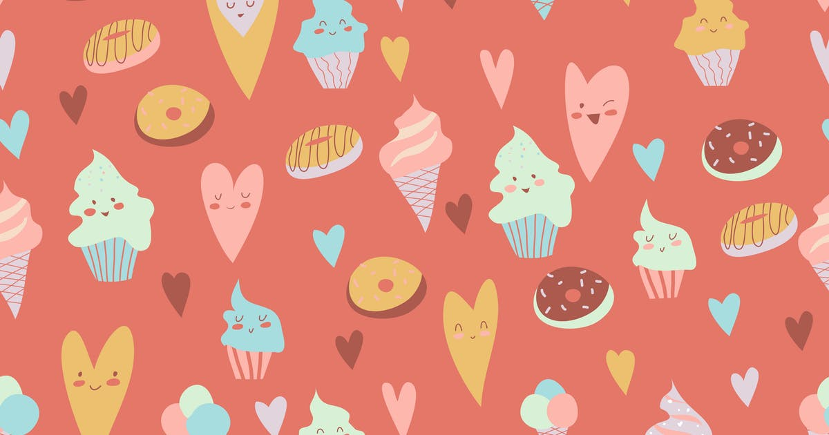 Download Beautiful seamless pattern of delicious cupcakes, by masastarus