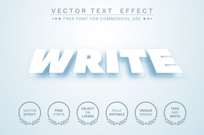 Levitation pape - редактируемый текстовый эффект, стиль шрифта