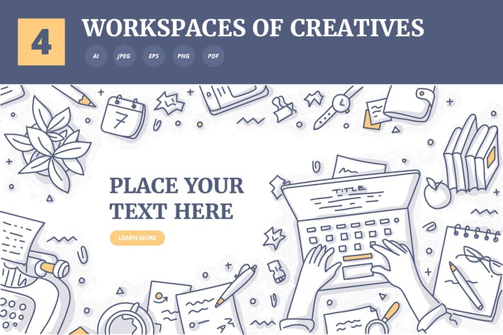 Thumbnail for 4 Background Concepts of Creatives Workplaces