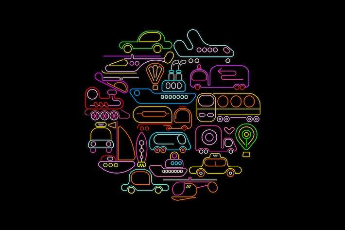 Thumbnail for Transportation round shape neon vector design