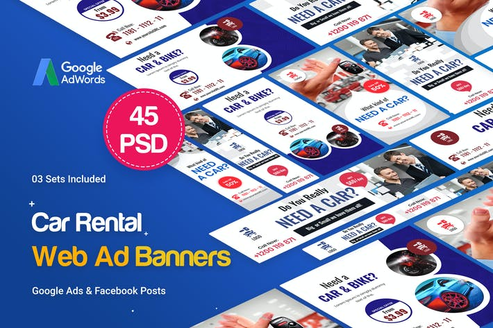 Thumbnail for Car Rental Banners Ad - 45 PSD [03 Sets]