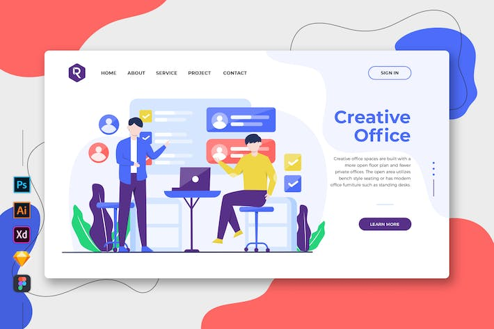 Thumbnail for Creative Office - Web & Mobile Landing Page