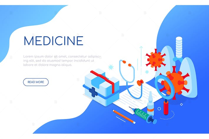 Thumbnail for Covid-19 and medicine - isometric web banner