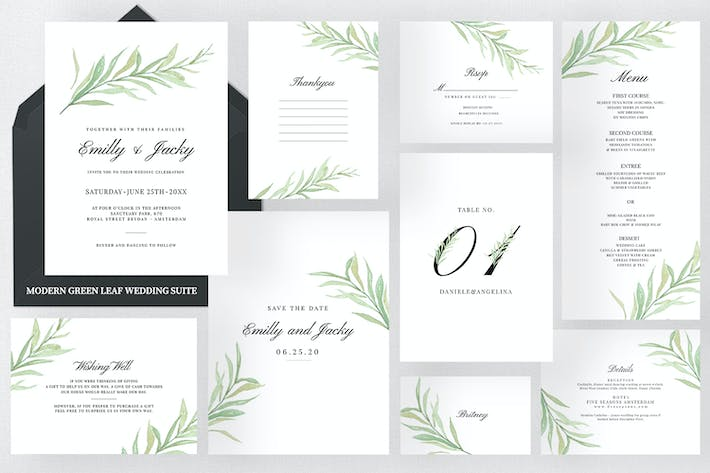 Thumbnail for Modern Green Leaf Wedding Suite