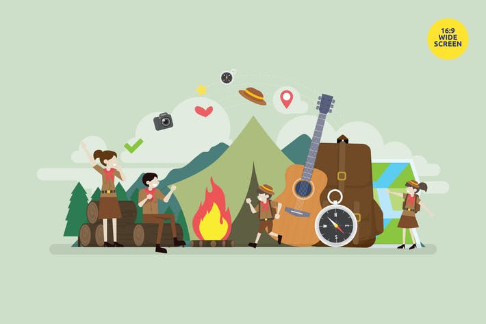 Student Summer Camp Vector Concept Illustration