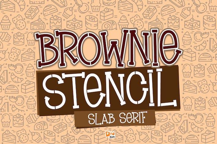 Brownie Pochoir - Slab Serif Pochoir Police