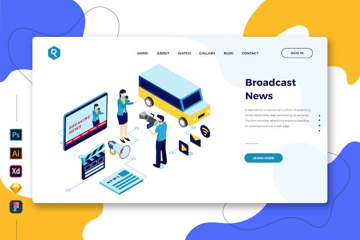 Thumbnail for Broadcast News - Web & Mobile Landing Page