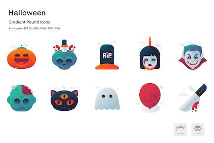 Halloween-Farbverlauf Runde Icons