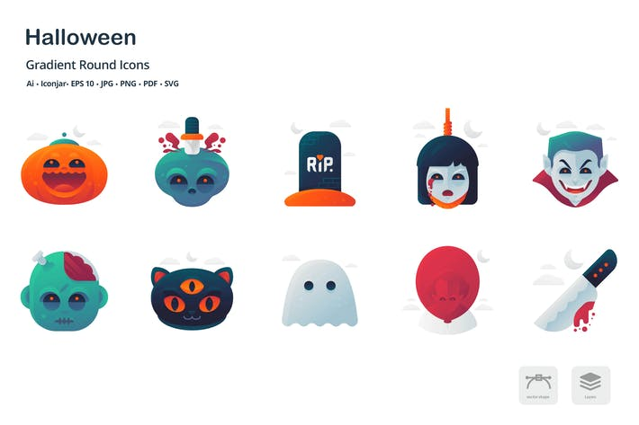 Halloween Gradient Round Icons