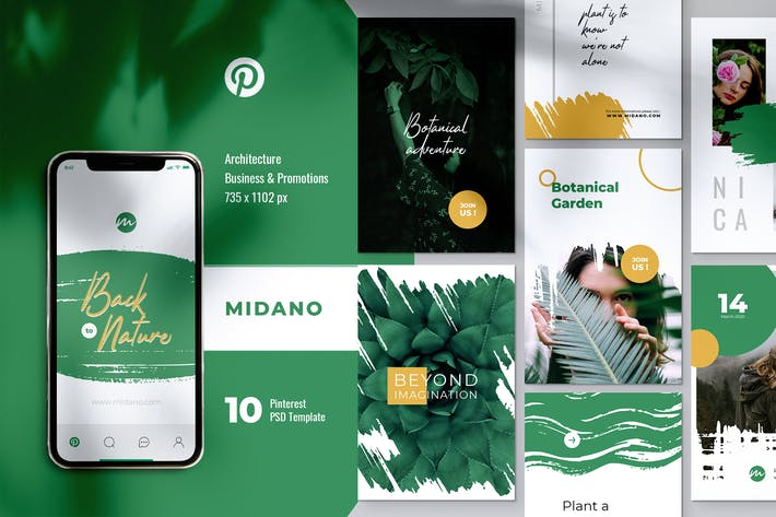 Thumbnail for MIDANO Botanical Pinterest Template