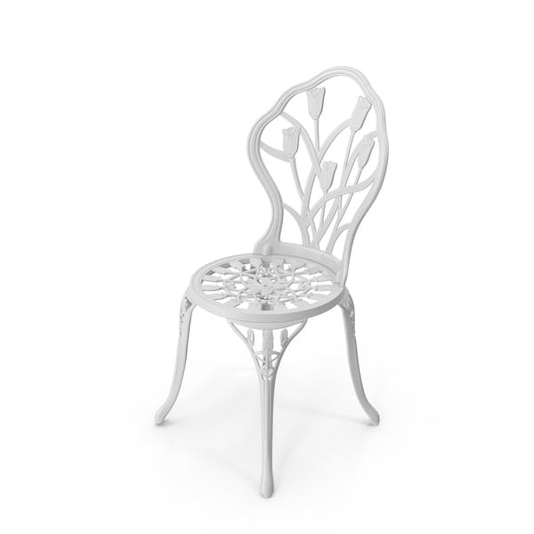 White Cast Iron Chair By Pixelsquid360