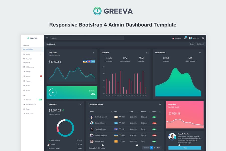 Greeva - Responsive Admin Dashboard Template