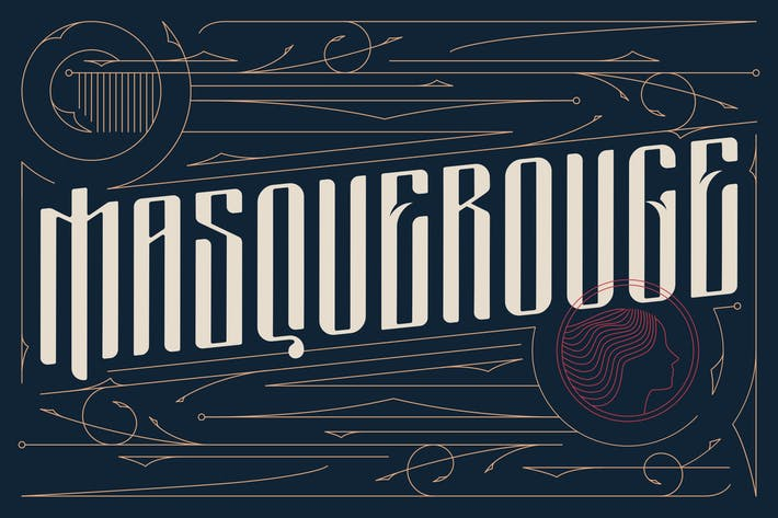 Thumbnail for Masquerouge Victorian Font