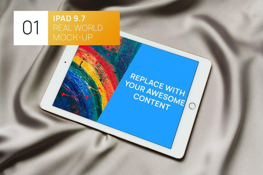 White iPad on Shining Fabric Real World Mock-up